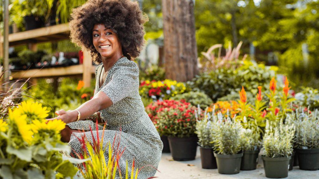 black woman garden afro