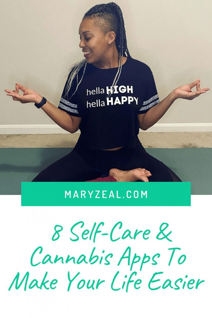 stacy zeal sitting in a yoga post with hella high hella happy shirt on 8 self care cannabis apps pinterest